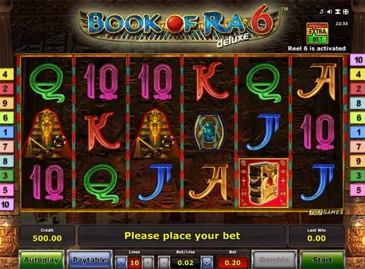 Book of Ra 6 Deluxe Slot Game Reels