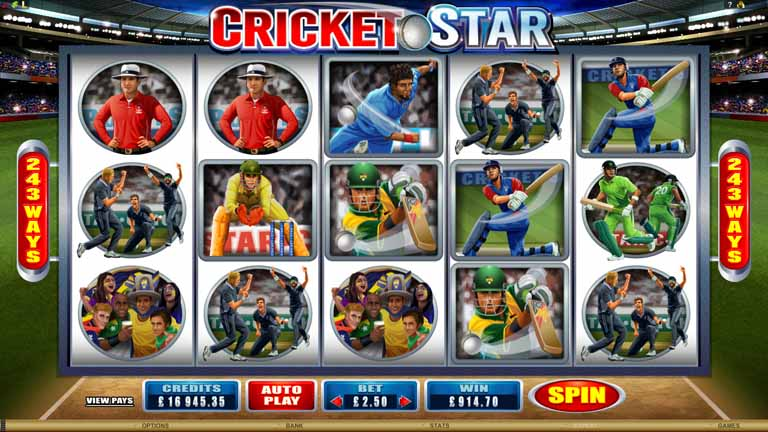 Cricket Star Slot Game Reels