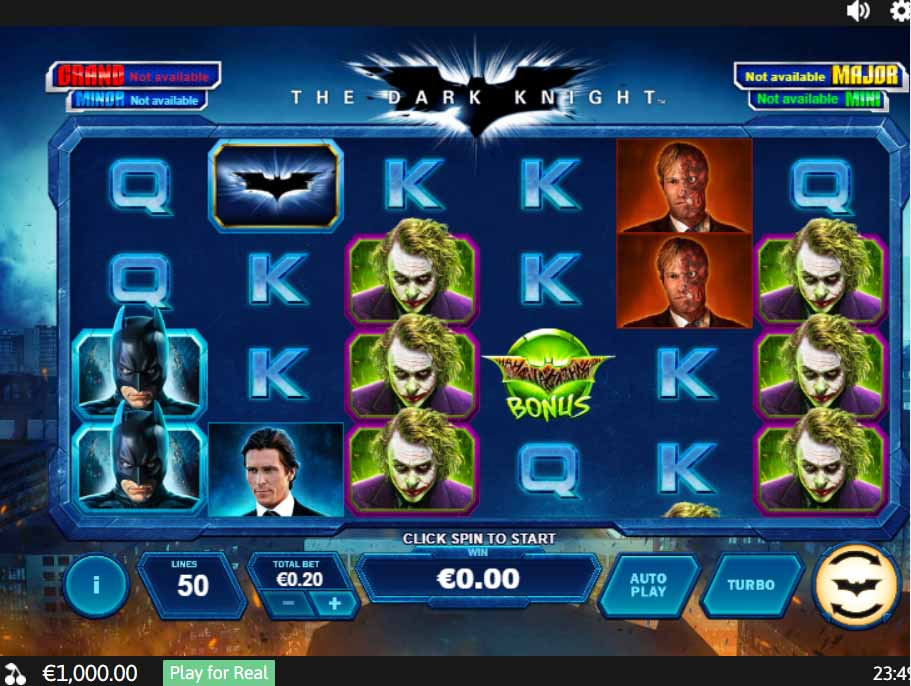 The Dark Knight Slot Game Reels