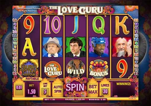 The Love Guru Slot Game Reels