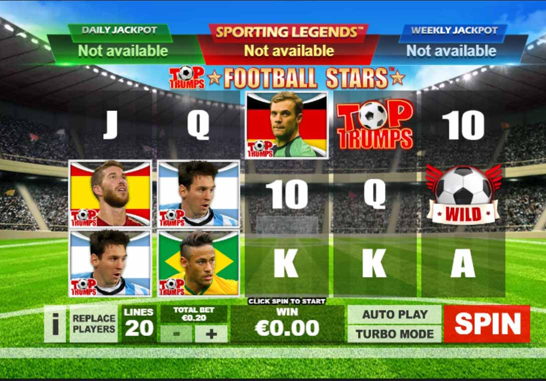 Top Trumps Football Stars: Sporting Legends Slot Game Reels