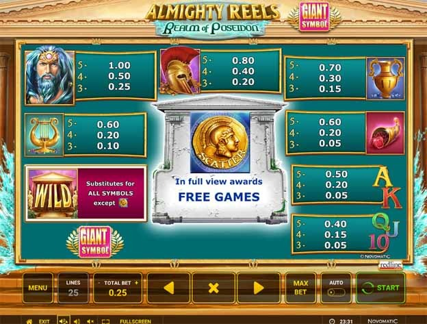 Almighty Reels - Realm of Poseidon Slot Bonus
