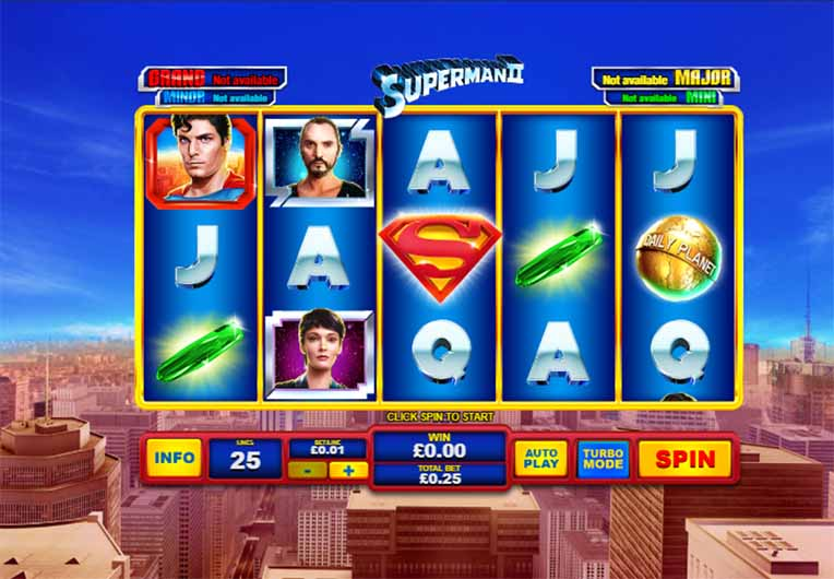 Superman II Slot Game Reels