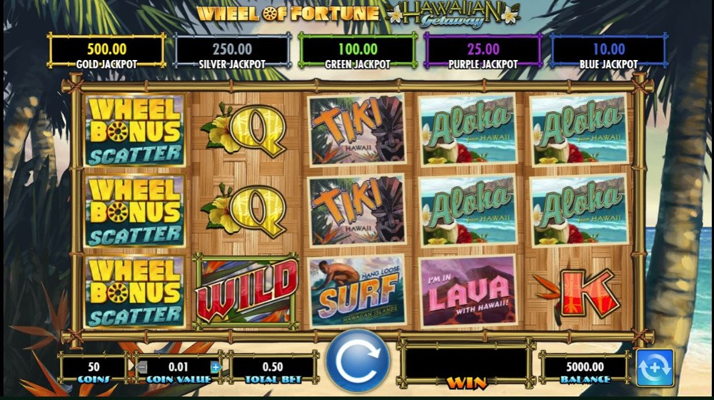 Wheel of Fortune: Hawaiian Getaway Slot Game Reels