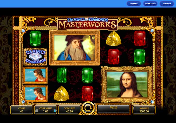 Da Vinci Diamonds Masterworks Slot Game Reels
