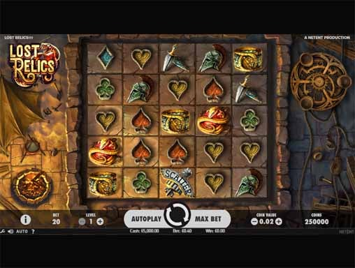 Lost Relics Slot Game Reels