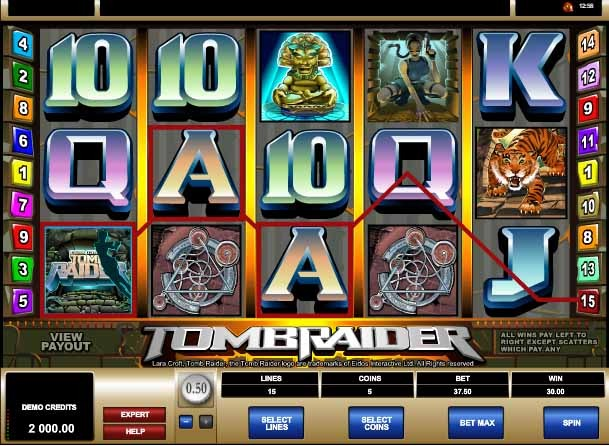 Tomb Raider Slot Game Reels