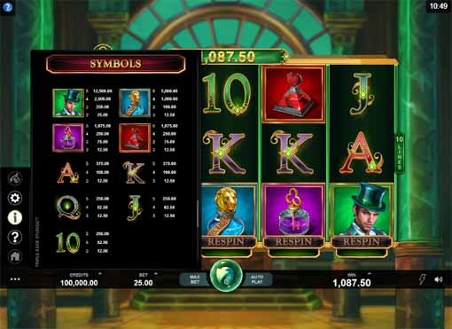 Book of Oz Slot Paytable