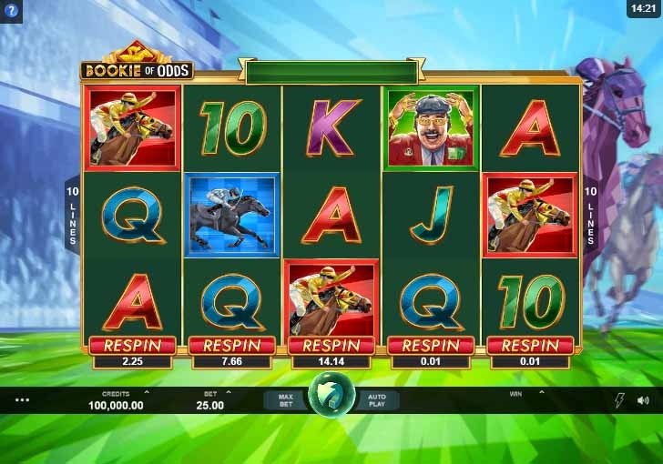 Bookie of Odds Slot Game Reels