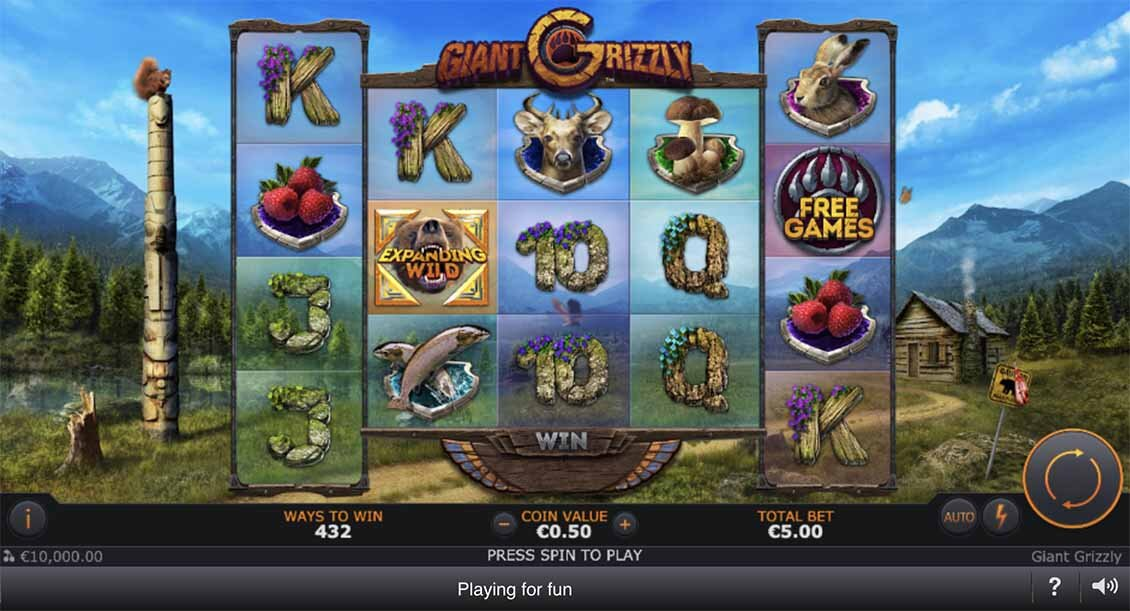 Giant Grizzly slot reels