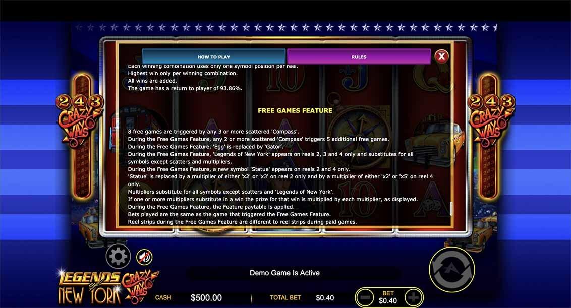 Legend of New York Slot Bonus