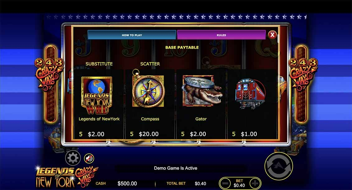 Legend of New York Slot Paytable