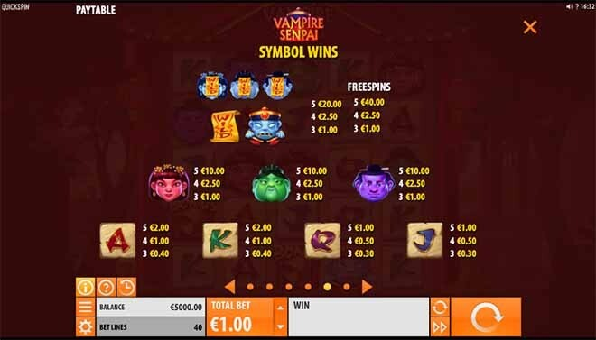 Vampire Senpai Slot Paytable